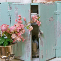 Light aqua cupboard wooden antique shabby cottage wall cabinet home decor Anita Spero