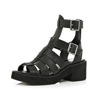 Black block heel gladiator sandals - sandals - shoes / boots - women