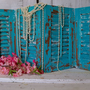 Deep turquoise blue wooden shutters four panel set hand painted Shabby chic distressed home decor  Anita Spero