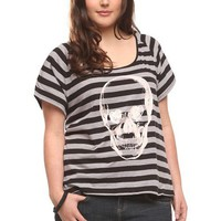 Twist Tees - Grey And Black Striped Skull Cold-Shoulder Tee | Tops
