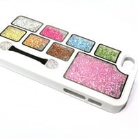 NEW iPhone 5 Case Cover in White with Clear Windows and inside beads - Very Unique