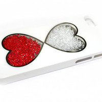 NEW iPhone 5 Case Cover in White with Clear Windows Hearts and inside beads - Very Unique