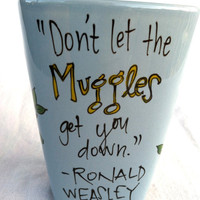 Harry Potter &quot;Don&#x27;t let the Muggles get you down&quot; Medium, pale blue square mug - Hand Painted Quote Mug with Owls