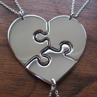 Three piece necklace, best friend puzzle heart pendant necklaces