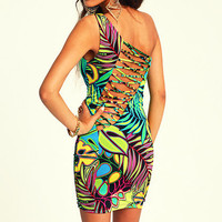 ONE SHOULDER TROPICAL DRESS