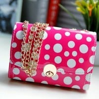 Refreshing Hasp Design and Polka Dot Print Rose Leather Shoulder Bag
