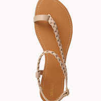 Braided Faux Leather Thong Sandals | FOREVER 21 - 2047757668