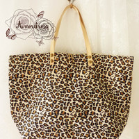 Leopard Tote Bag Printed Canvas Bag Genuine Leather by Amordress