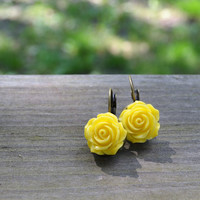 Yellow Rose Earrings - Flowers - Floral - Easter - Spring - Summer - Bridesmaid Gift - Antique Bronze - Gifts Under 25