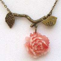 Antiqued Brass Branch Leaf Bird Flower Necklace by gemandmetal