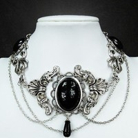 Goth Victorian Choker With Black Cabochons - Necklaces
