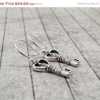 Mothers Day Sale Key Earrings, Heart Shaped, Sterling Silver