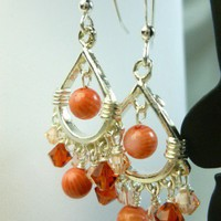 Shades of Orange Bamboo Coral and Swarovski Crystal Chandelier Sterling Earrings | dianesdangles - Jewelry on ArtFire