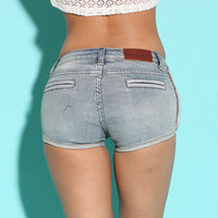 Sexy package hip denim shorts