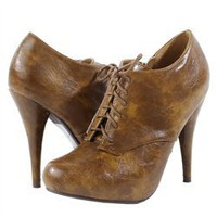 Breckelle's Kendra22b Tan Lace Up Hidden Platform Oxford Ankle Boots and Womens Fashion Clothing & Shoes - Make Me Chic
