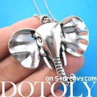 Large Elephant Animal Statement Pendant Necklace in Shiny Silver
