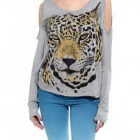 Cheetah Print Open Shoulder Tee