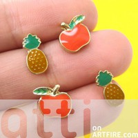 Small Apples and Pineapples Fruit Shaped Stud Earrings 4 Piece Set