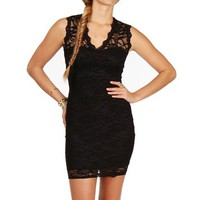  Black V-Neck Lace Fitted Dress