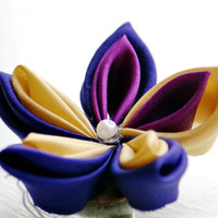 Kanzashi Hair Clip in Gold Deep Purple by cuttlefishlove