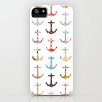 Vintage retro sailor girly floral nautical anchors iPhone & iPod Case by Girly Trend