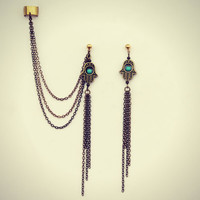 ear cuff with hamsa and tassels, hand of fatima, ear cuff with chains, turquoise earrings, chains ear cuff, hamsa hand earrings