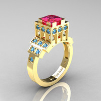 Modern Industrial 14K Yellow Gold 1.23 CT Princess Pink Sapphire Blue Topaz Bridal Ring R316-14KYGBTPS