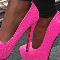 Platform Lace Neon Shoes With High Heel In Pink from svuk