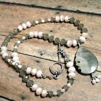 Dove Gray and Blush Pink Crystal Necklace with Artistic Jasper Pendant