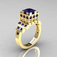Modern Industrial 14K Yellow Gold 1.23 CT Princess Blue Sapphire Bridal Ring R316-14KYGBS