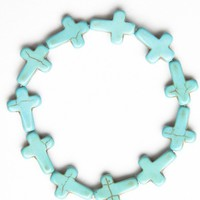 Brandy ♥ Melville |  Turquoise Stone Cross Bracelet - Jewelry - Accessories