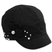 Amazon.com: EH8441BC - Womens Linen Blend Newsboy / Cabbie Hat / Cap with Pearl Flower Accent - Black/One Size: Clothing