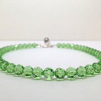 Peridot Swarovski Crystal, Green Beaded Necklace, Adjustable Choker