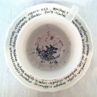 Harry Potter Grim Teacup &quot;You need your Inner Eye tested&quot; - Hand Painted Literary Quote Teacup and Saucer - Tea leaves and spells