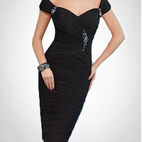 [119.59] Elegant Black Chiffon Sheath Off-the-shoulder Neckline Knee-length Mother of the Bride Dress With Beading and Rhinestones Decoration  - Dressilyme.com