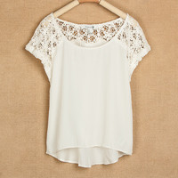 [grlhx160109]Lace stitching shirt, short sleeve chiffon blouse