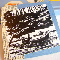 Coaster - Single - Lake House - Paddling A Canoe - Large Paper Chipboard Decoupage Collage Drink Bar Tea Beverage Coffee