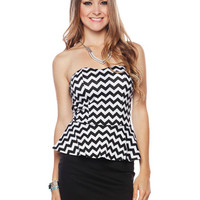 Papaya Clothing Online :: ZIGZAG PEPLUM COMBO DRESS