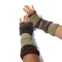 Hand Knit Fingerless Gloves Arm Warmers Beige Brown Gray Pink Red
