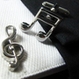 Cuff links - Music cuff links - Music note Cuff links - Silver cuff links - Metal cufflinks - Wedding - Fashion cuff links