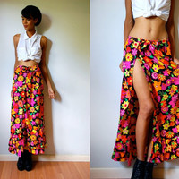 Vtg Neon Floral Ruffled Adjustable Wrap Maxi Skirt