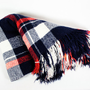 Vintage Fringed Plaid Picnic, Lap Blanket, Throw, Navy Blue and Red