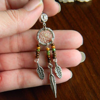 Tribal Dream Catcher Belly Ring with Brown Grey Diamond Nugget in The Native Inspired Tribal Boho Hippi Belly Dancer Hipster Style