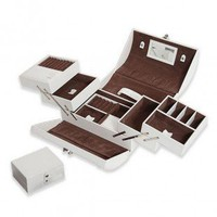 Morelle Expandable White Leather Jewelry Box With Takeaway Case - A22651 - Jewelry Boxes - Decorative Accents - Decor