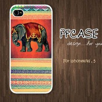 Elephant on aztec : Case For Iphone 4/4s ,5 /Samsung S2,3,4
