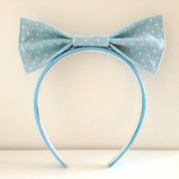 Blue bow polkadot headband