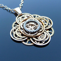Steampunk Flower Necklace Bloom  by amechanicalmind on Etsy