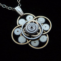 Steampunk Flower Pendant Flor by amechanicalmind
