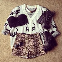 High-Rise Leopard Print Shorts