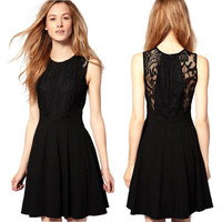 Classic little black dress lace skirt dress